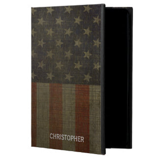 Grungy American Flag with Linen Finish and Name Powis iPad Air 2 Case