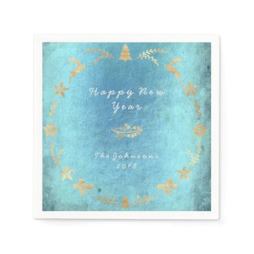 Beach Themed Grungy Aquatic Ocean Old Gold Christmas Paper Napkin
