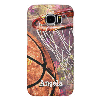 Grungy Basketball girly add girls name Samsung Galaxy S6 Case