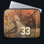 "Grungy Basketball Sleeve<br><div class=""desc"">Silhouettes of two basketball players flying to the hoop for the reverse dunk and slam dunk - basketball theme graphics composite of basketball,  hoop and court with grunge effect and customizable name and jersey number by katz_d_zynes</div>"