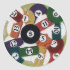 GRUNGY BILLIARDS BALLS CLASSIC ROUND STICKER