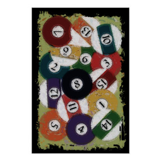 GRUNGY BILLIARDS BALLS POSTERS
