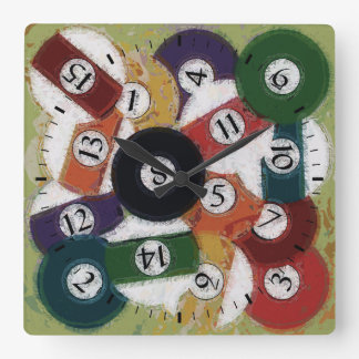 GRUNGY BILLIARDS BALLS SQUARE WALL CLOCK