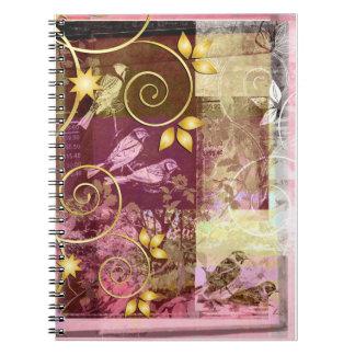 Grungy birds and florals design notebook