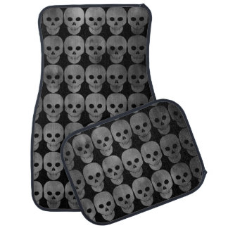 Grungy black and gray skulls car mat