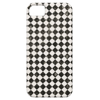 Grungy Black & White Check Pattern iPhone 5 Case