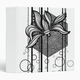 Grungy Black & White Water Lilly 3 Ring Binder