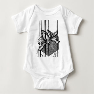 Grungy Black & White Water Lilly Baby Bodysuit
