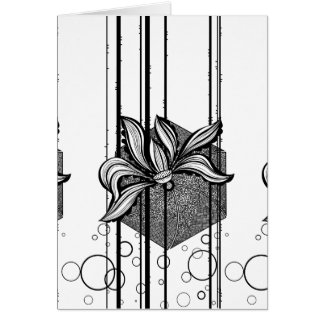 Grungy Black & White Water Lilly Card