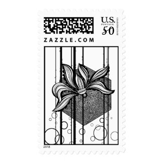 Grungy Black & White Water Lilly Postage