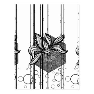 Grungy Black & White Water Lilly Postcard