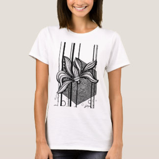 Grungy Black & White Water Lilly T-Shirt