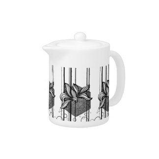 Grungy Black & White Water Lilly Teapot