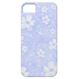 Grungy Blue and White Flower Heart Pattern iPhone SE/5/5s Case