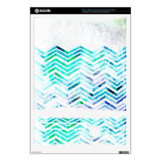 Grungy Blue Chevron Design Xbox 360 S Console Decal
