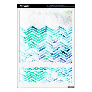 Grungy Blue Chevron Design Xbox 360 S Console Skin