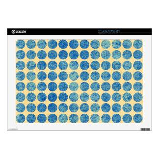"Grungy Blue Denim Dots Modern Navy Blue Skin For 17"" Laptop"