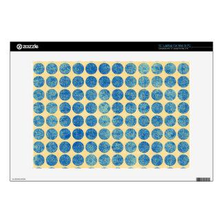 "Grungy Blue Denim Dots Modern Navy Blue Decals For 13"" Laptops"