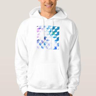 Grungy Blue Geometric Box Pattern Sweatshirt