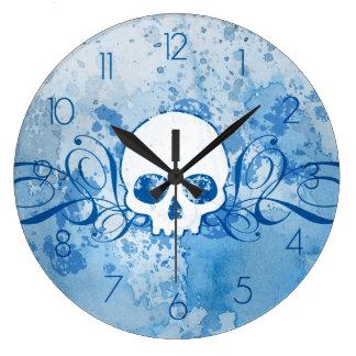 Grungy Blue Skull Large Clock