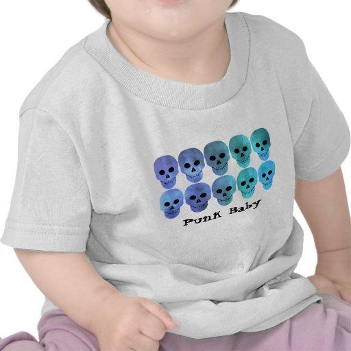 Grungy blue tones punk skulls for baby tshirt