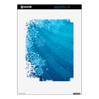 Grungy Blue Winter Snowflake Design Skin For iPad 2