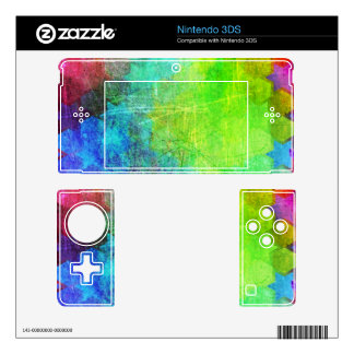 Grungy Bright Geometric Art Skins For Nintendo 3DS