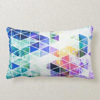 Grungy Bright Triangle Pattern Lumbar Pillow