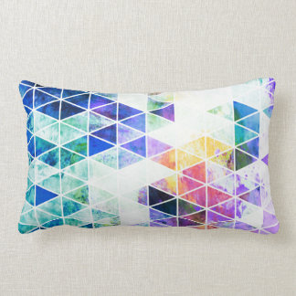 Grungy Bright Triangle Pattern Throw Pillow