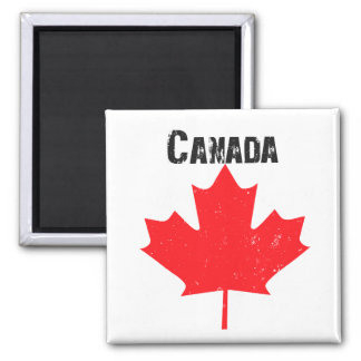 Grungy Canada Maple Leaf 2 Inch Square Magnet