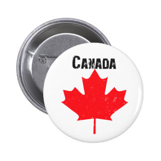 Grungy Canadian Maple Leaf 2 Inch Round Button