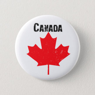 Grungy Canadian Maple Leaf Pinback Button