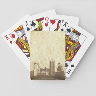 Grungy city background card decks