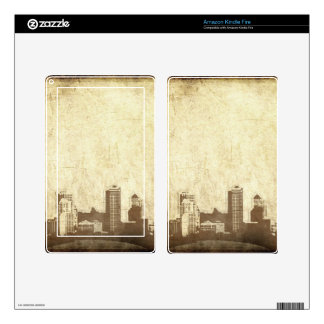Grungy city background decals for kindle fire