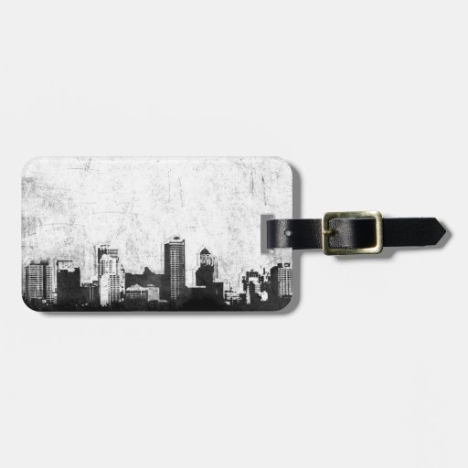 Grungy city background in black and white bag tag
