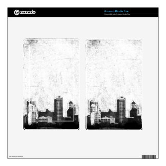 Grungy city background in black and white kindle fire skin