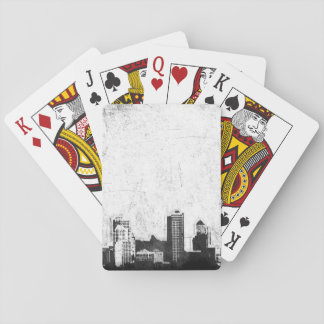 Grungy city background in black and white deck of cards