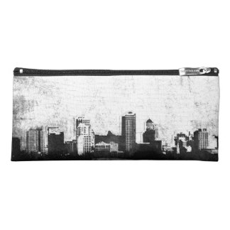 Grungy city background in black and white pencil case