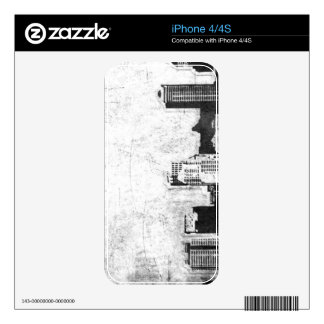 Grungy city background in black and white skins for the iPhone 4S