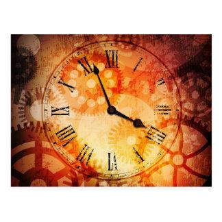 grungy clock postcard