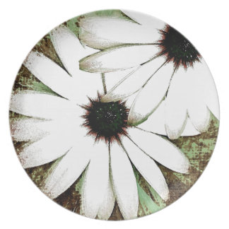 grungy daisys party plates