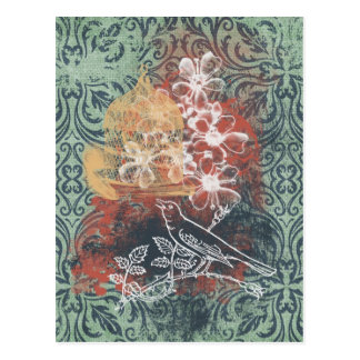 Grungy Damask Bird and Cage Postcard