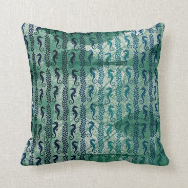 Beach Themed Grungy Deep Green Seahorses Ocean Beach Throw Pillow