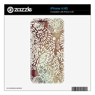 Grungy Deep Purple Medallion Flowers Skin For iPhone 4