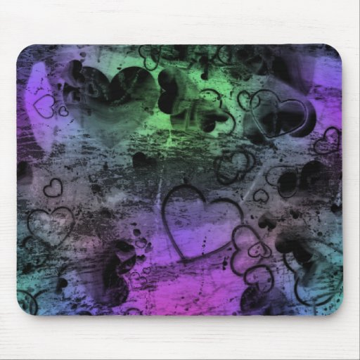 Grungy Distressed Funky Colors Hearts Mousepad