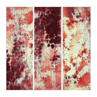 Grungy Distressed Rusty Orange Texture Abstract Triptych