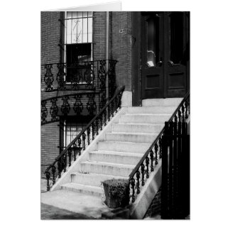 Grungy Doorway and Steps B&W Greeting Card