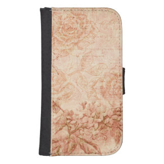 Grungy Engraved Floral Galaxy S4 Wallet Cases