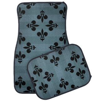Grungy fleur de lis pattern black and blue car floor mat
