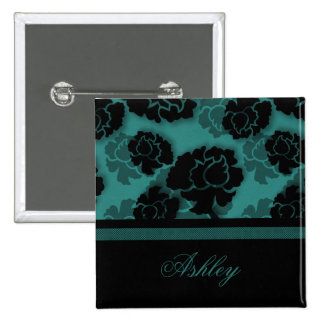 Grungy Floral Decadence Button, Teal